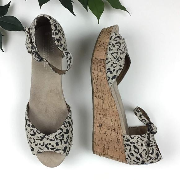 f054abd375cf Toms Shoes   Cheetah Open Toe Cork Platform Wedge Sandals   Poshmark